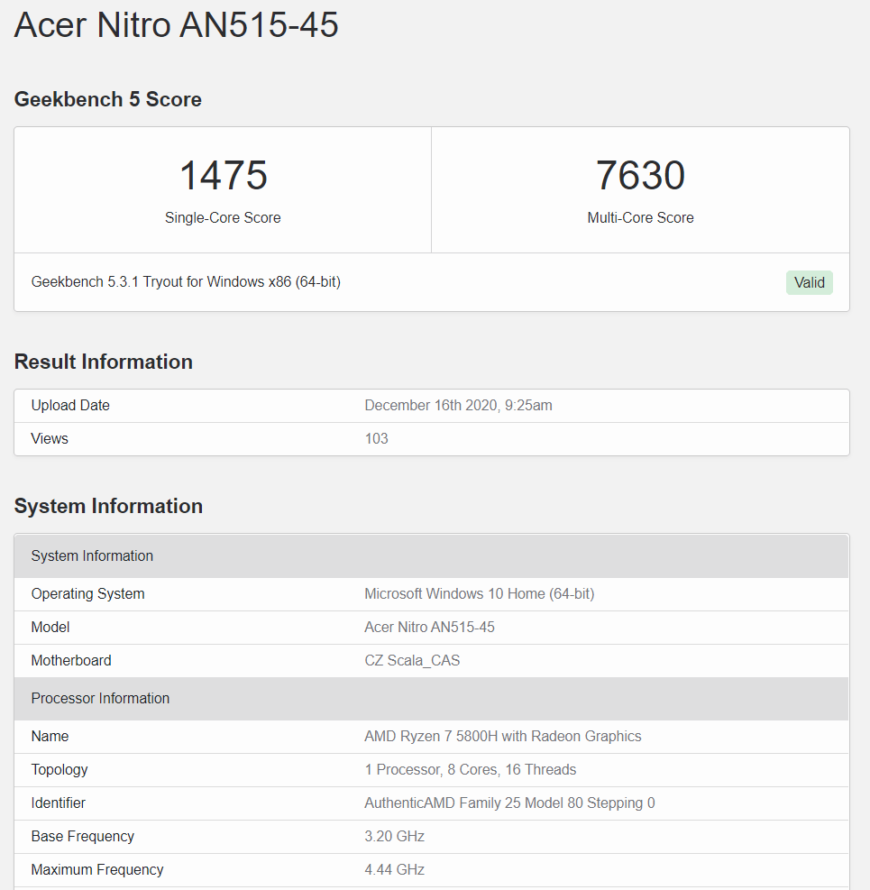 amd ryzen 7 5800h geekbench leak