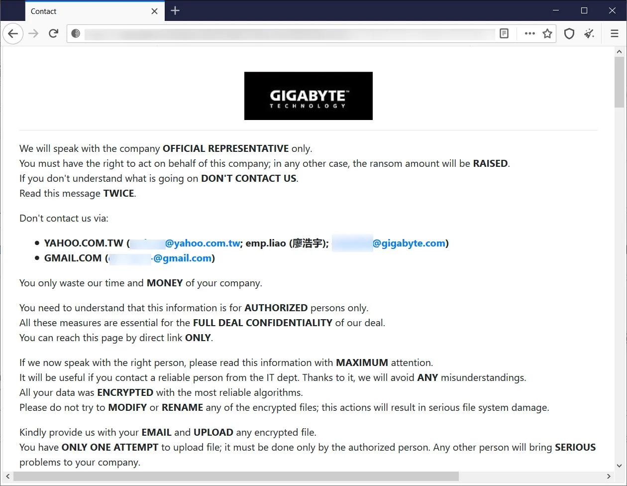 hackers message to gigabyte